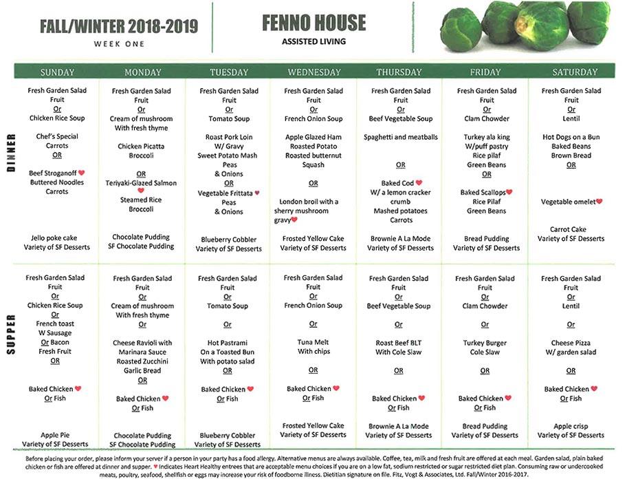 Fall 2018 - Winter 2019: Week One Menu (Sample)